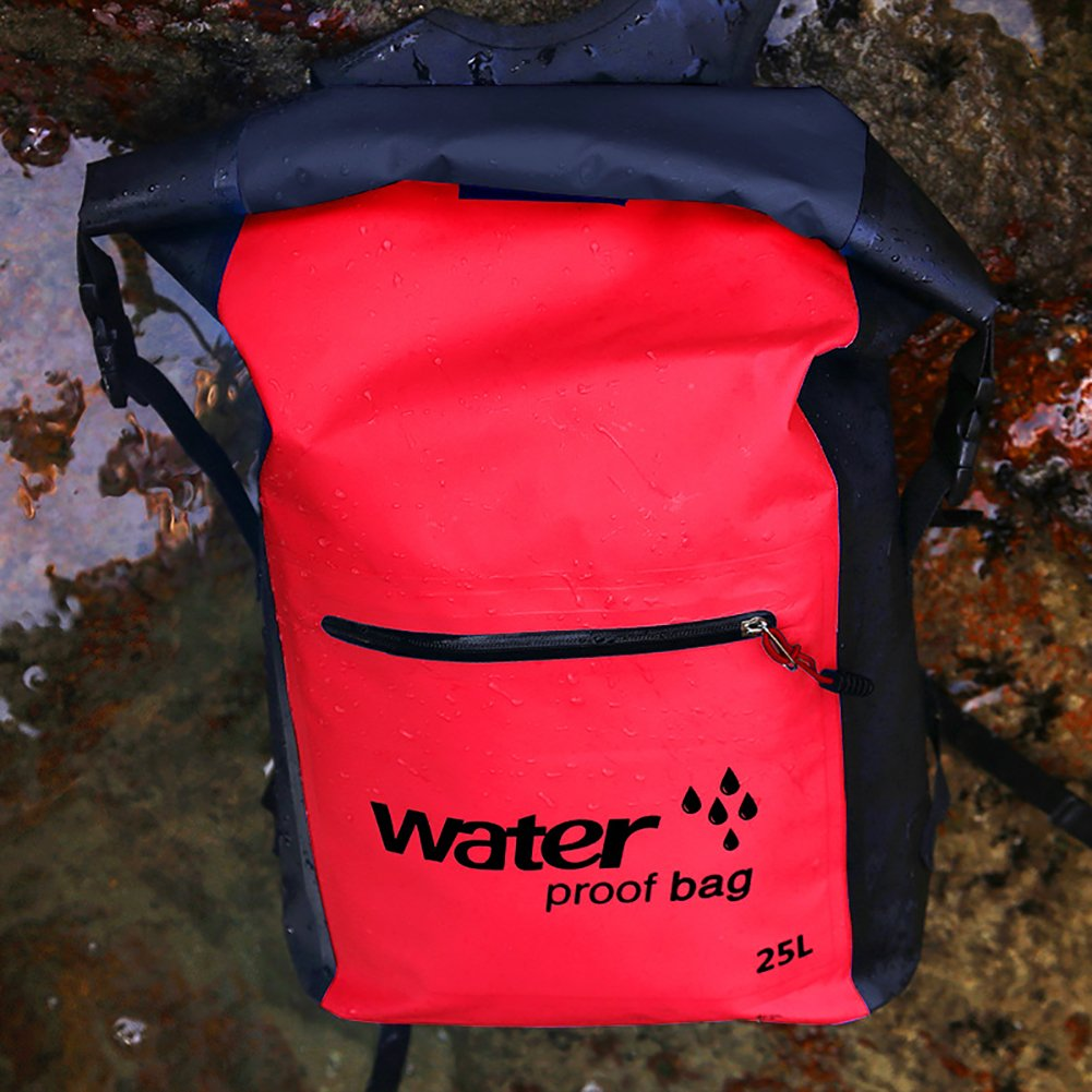 25LWaterproof backpack - PVC Shoulder Waterproof Bucket Bag for Outdoor Camping Beach, Rafting, Boating, Hiking, Kayaking, Camping and Fishing keep gear dry and Waterproof phone case (Red)