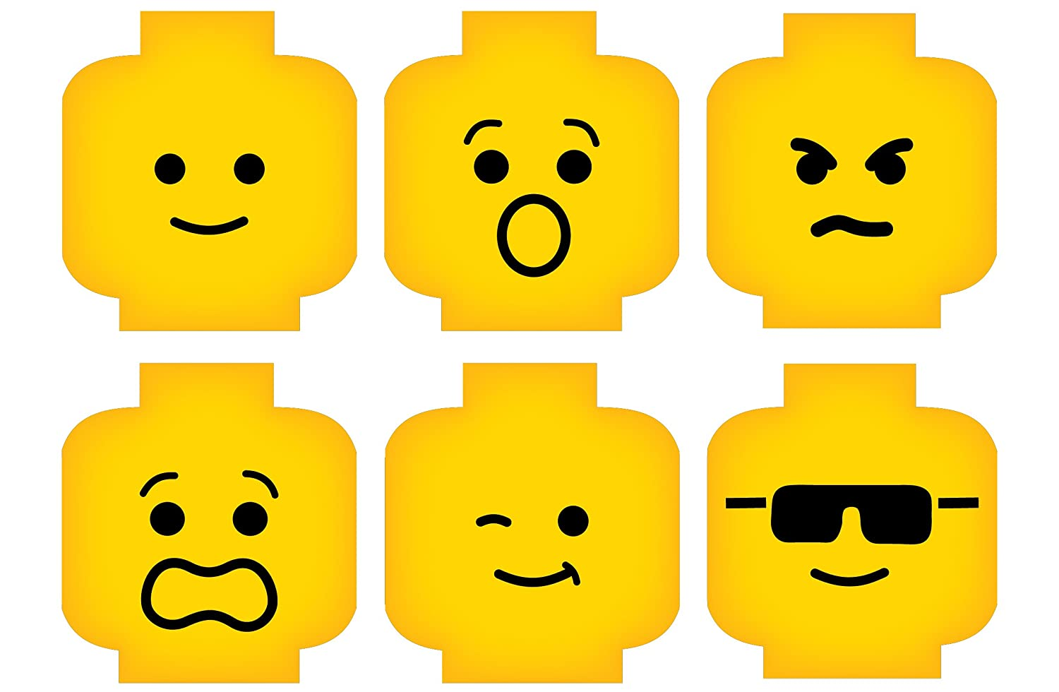 photograph relating to Lego Faces Printable referred to as Minifig Heads Experience Deal with Wall Decor Vinyl Decal Electronic Print Impression for Oneself Youngsters Brick Topic Space 2469 (Very low - 15.5 x 11 (5inside of ea))
