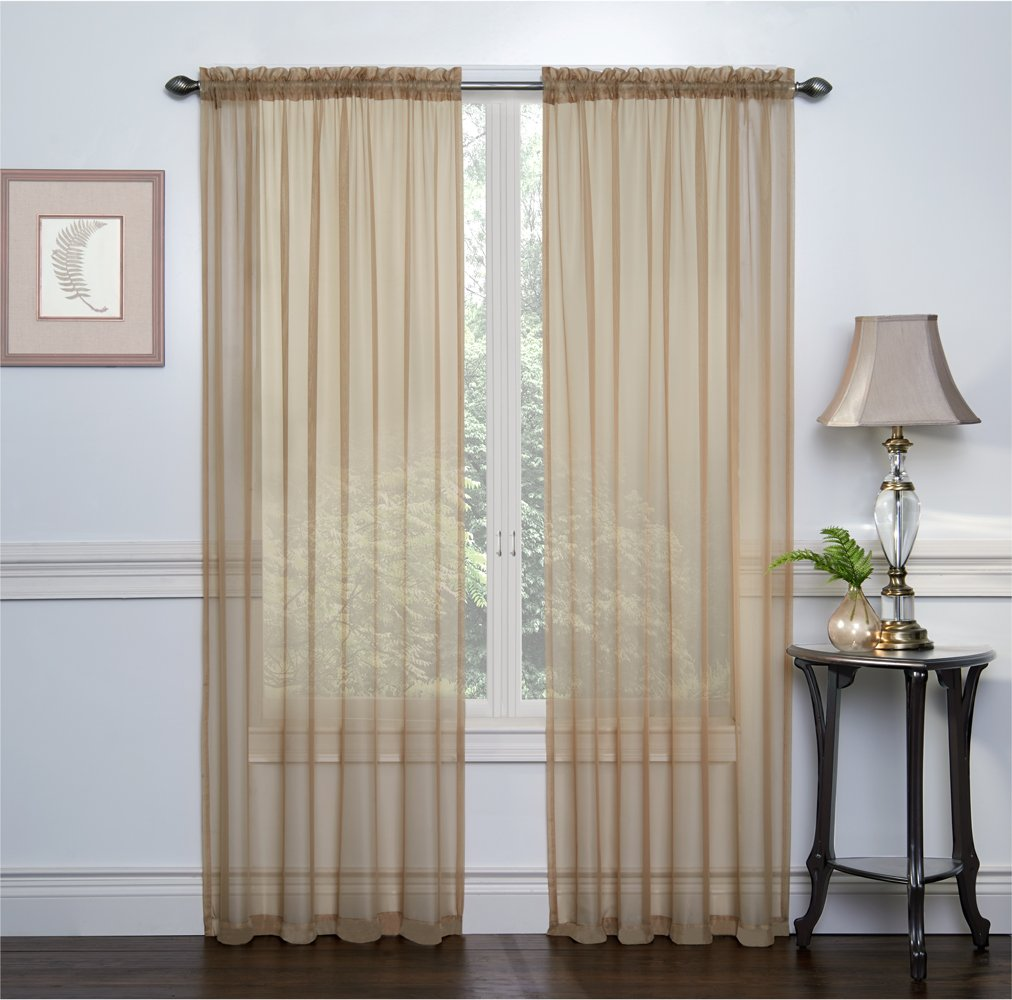 Crystal Antique Pair of 54 Inch X 84 Inch Luxurious Solid Sheer Voile Rod Pocket Curtain Set of 2 Panel Regal Home Collections 2 Pack