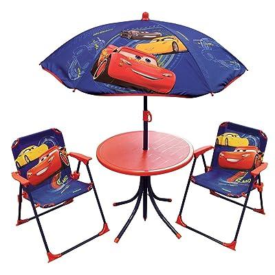 FUN HOUSE DISNEY CARS Salon De Jardin Pour Enfant Comprenant 1 Table 2 Chaises Pliables Et Parasol