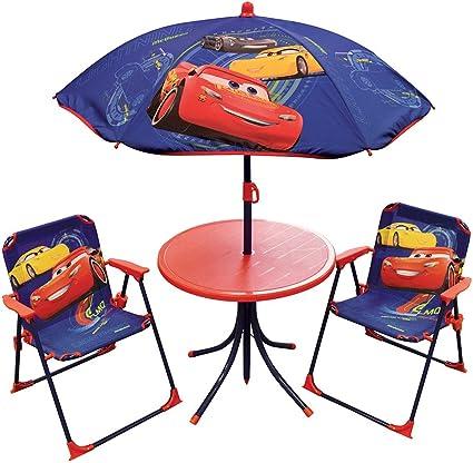 Fun House DISNEY CARS Salon de jardin pour enfant comprenant 1 Table, 2 Chaises pliables et 1 Parasol