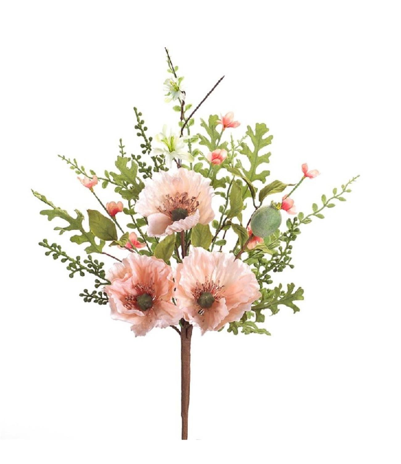Pack of 12春夏ピンクPoppy Flowers with Green Foliage Sprays 23