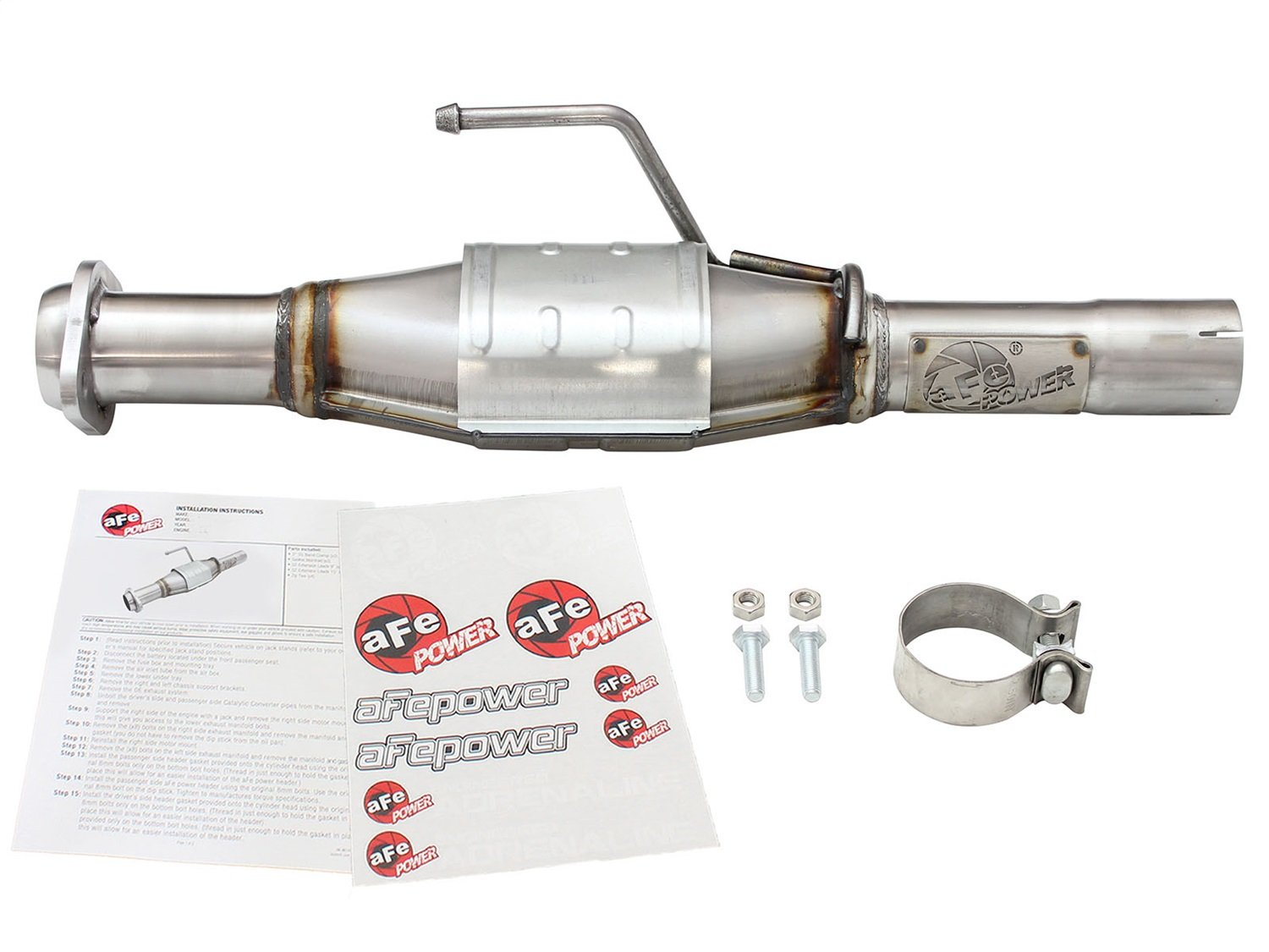 Front, Non-CARB Compliant aFe Power 47-48003 Direct Fit Catalytic Converter Replacement