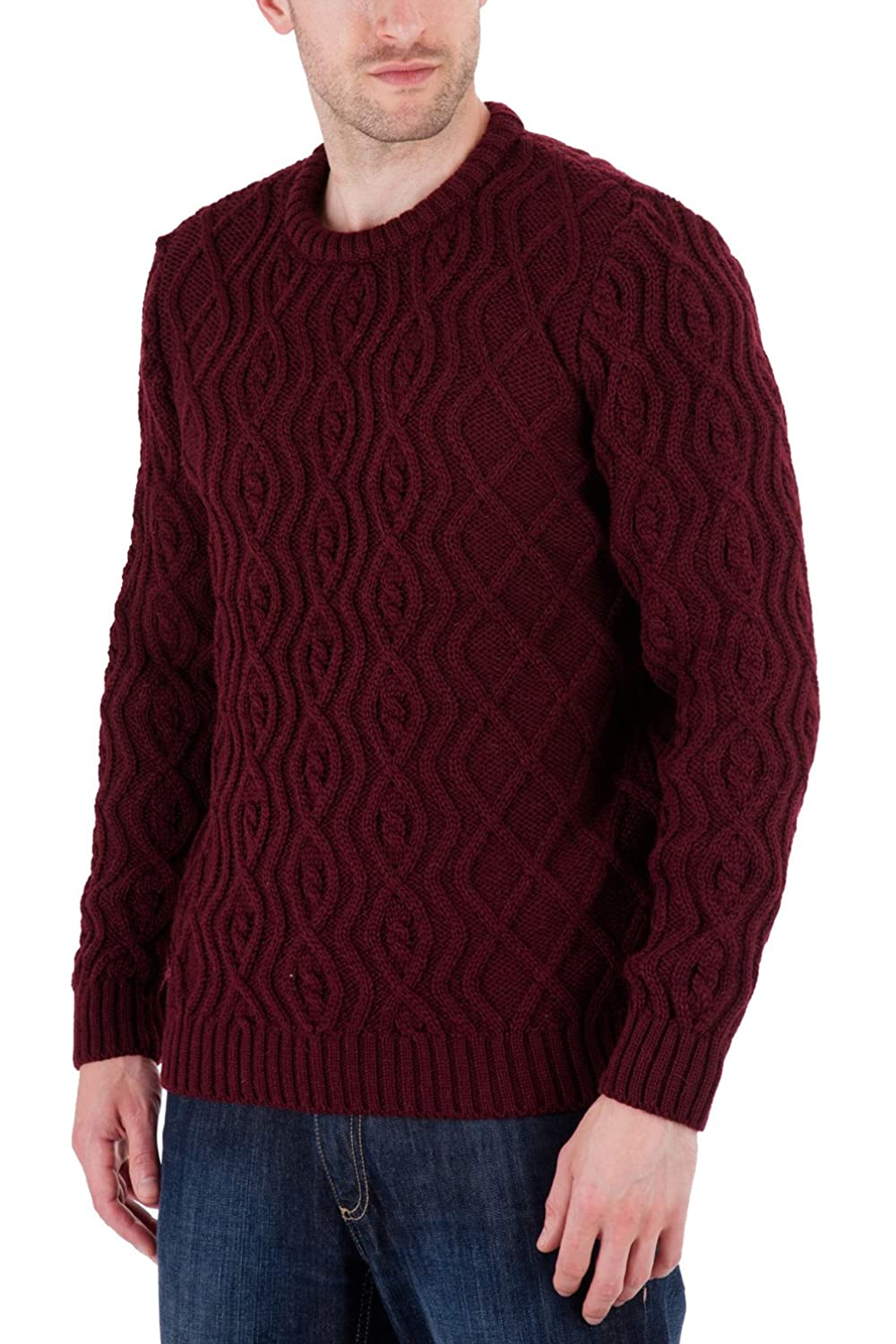 Anson - Burgundy Jumper Sweater - Pure British Wool
