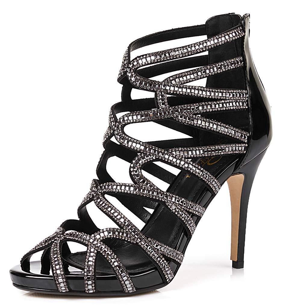 LizForm Women Evening Sandals Crisscross Jewelled Cutout Platform Pumps Wedding Stiletto High Heels