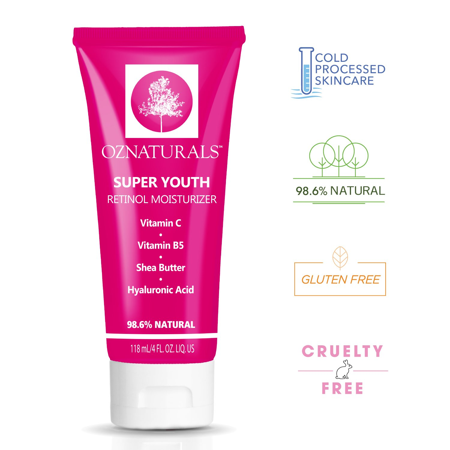 OZNaturals Pure Retinol Cream – Anti Wrinkle Anti Aging Retinol Night Cream Face Moisturizer With Retinol + Hyaluronic Acid. Experience The Most Effective Natural Skin Care. 4 fl.oz by OZ Naturals (Image #3)