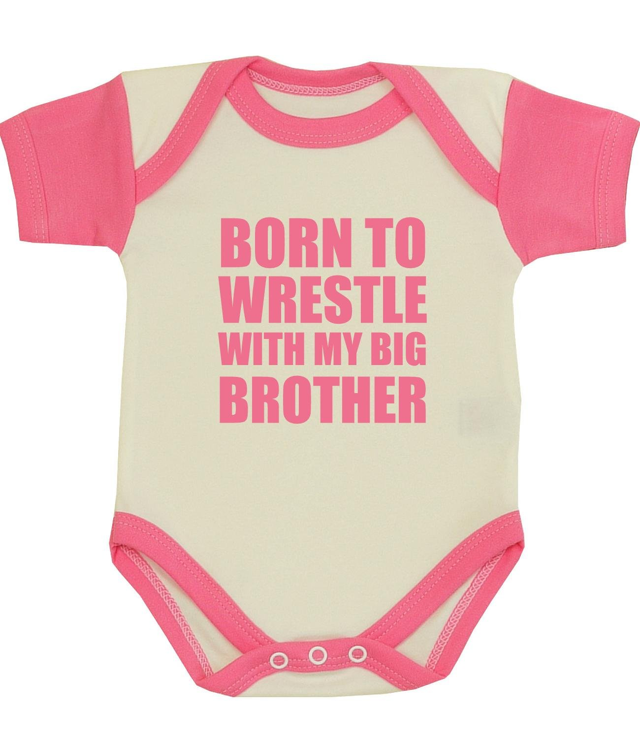 BabyPrem Baby Born to Wrestle with my Big Brother Clothes Bodysuit PINK 0-3