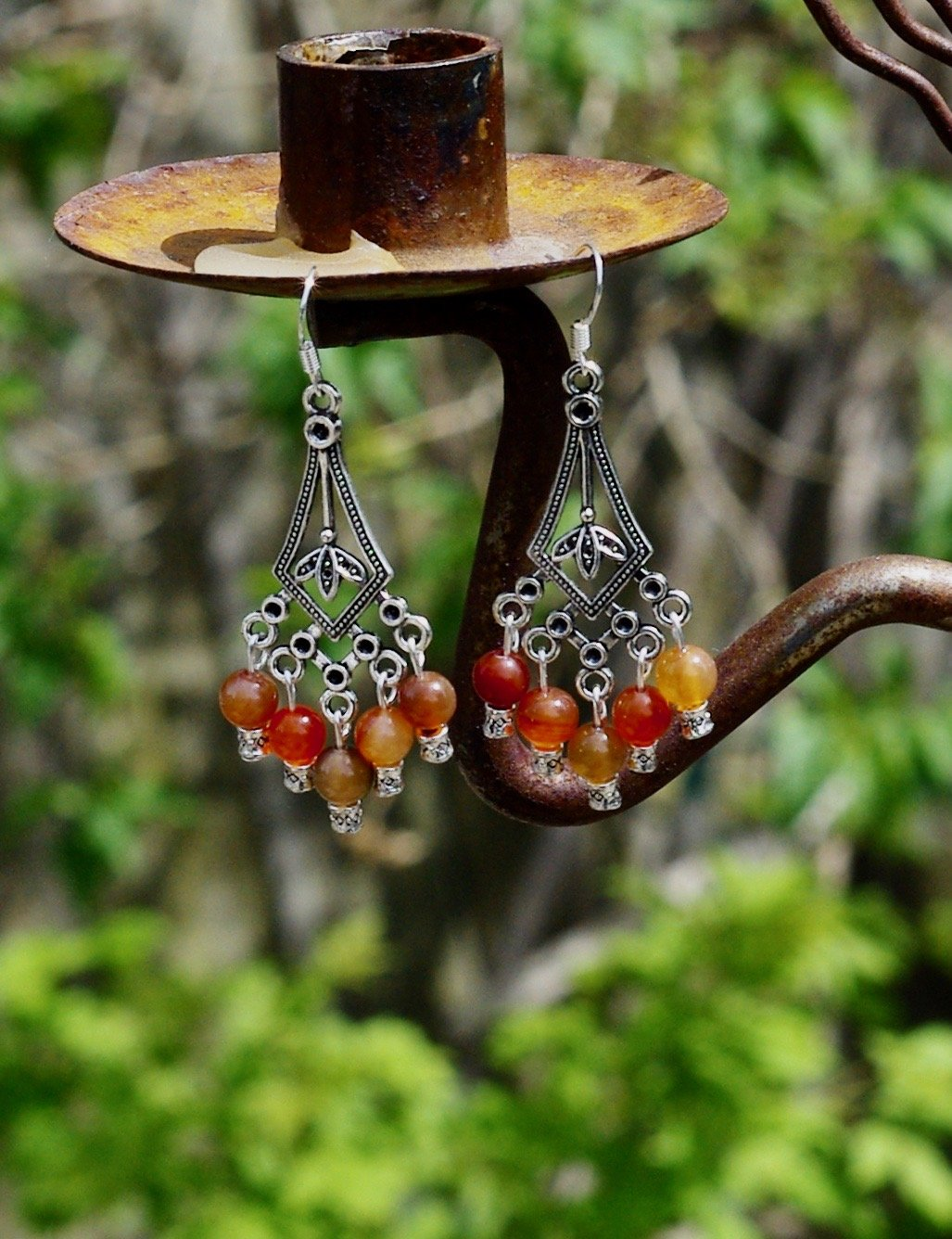 Carnelian Stone Chandelier Earrings