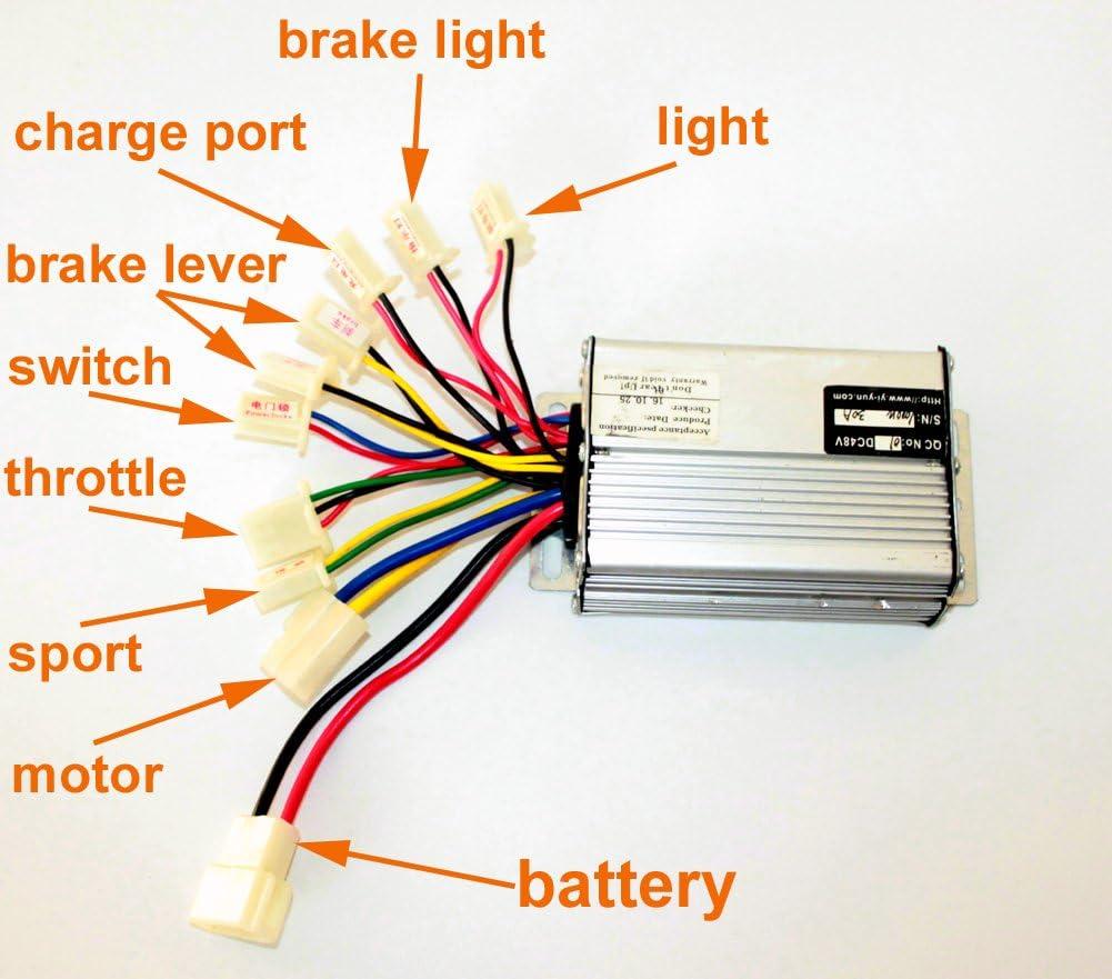 L-faster Controlador del Motor del regulador del Motor del Cepillo de la Vespa de 36V48V 1000W para el regulador Cepillado Scooter del Triciclo