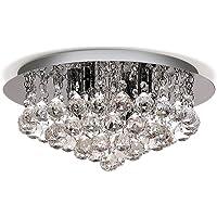 Lightess Chandelier Lighting Flush Mount Crystal Ceiling 4-Light Modern Light Fixtures
