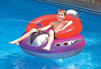 Childrens Inflatable Space Splasher Pool Ride On Water Gun Beach Float Toy Lilo