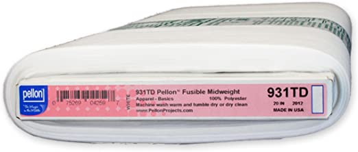 """White 20/"""" x 25 yd Bolt Pellon 931TD Fusible Midweight"""