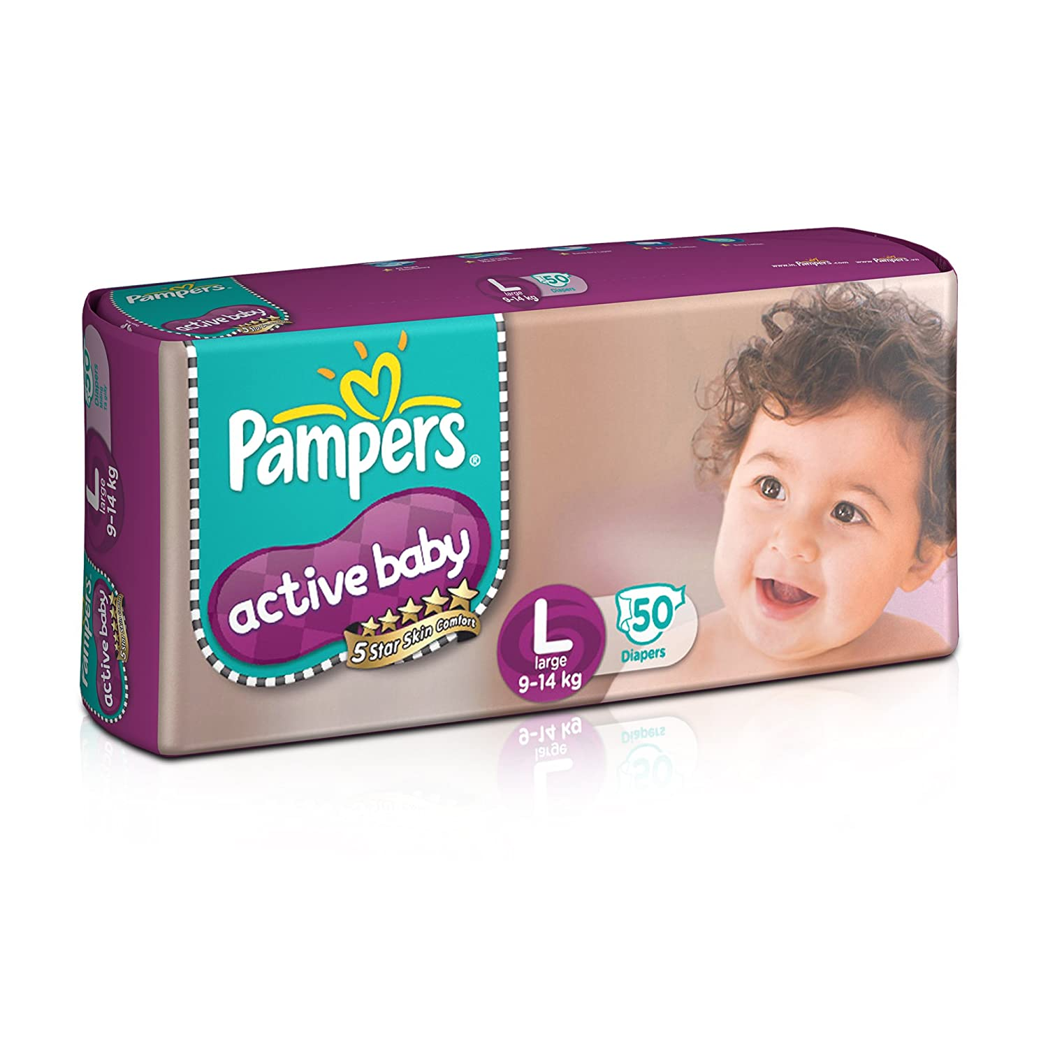 Buy Pampers Active Baby Large Size Diaper 50 Count Online At Low Premium Care Tape Nb 52 Prices In India