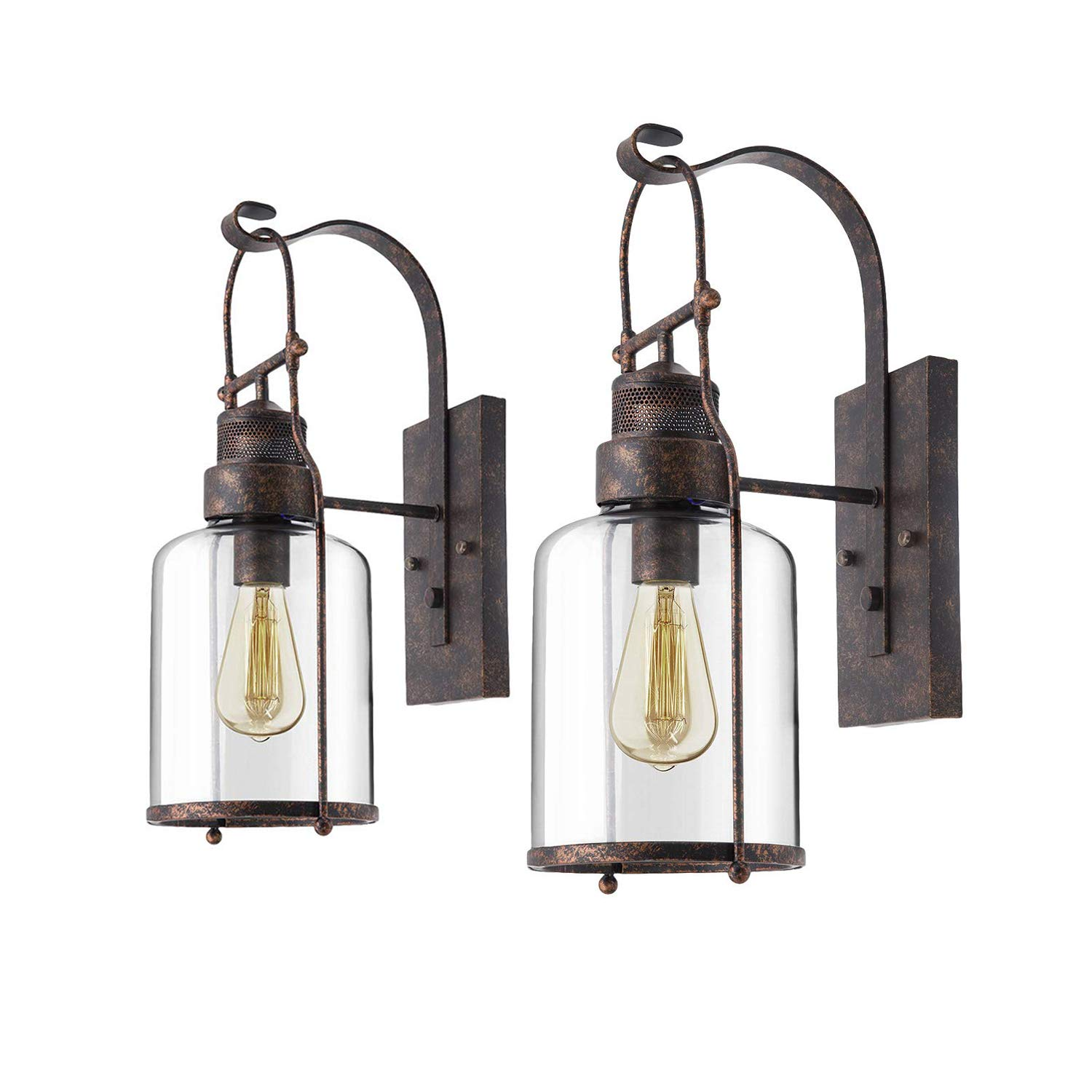 "2pcs Vintage Glass Wall Lamp, Motent Industrial Retro Iron Glass Wall Lantern in Rubbed Bronze Finished, Antique Minimalism 1-Light Cage Box Wall Sconce, 5.9"" Dia for Bedside Corridor Parlor - Rustic"