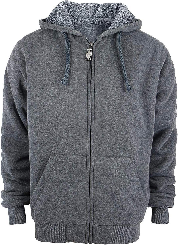 Yasumond Mens Hoodies Full Zip Sherpa Lined Heavyweight Fleece Warm Sweatshirts Big Tall