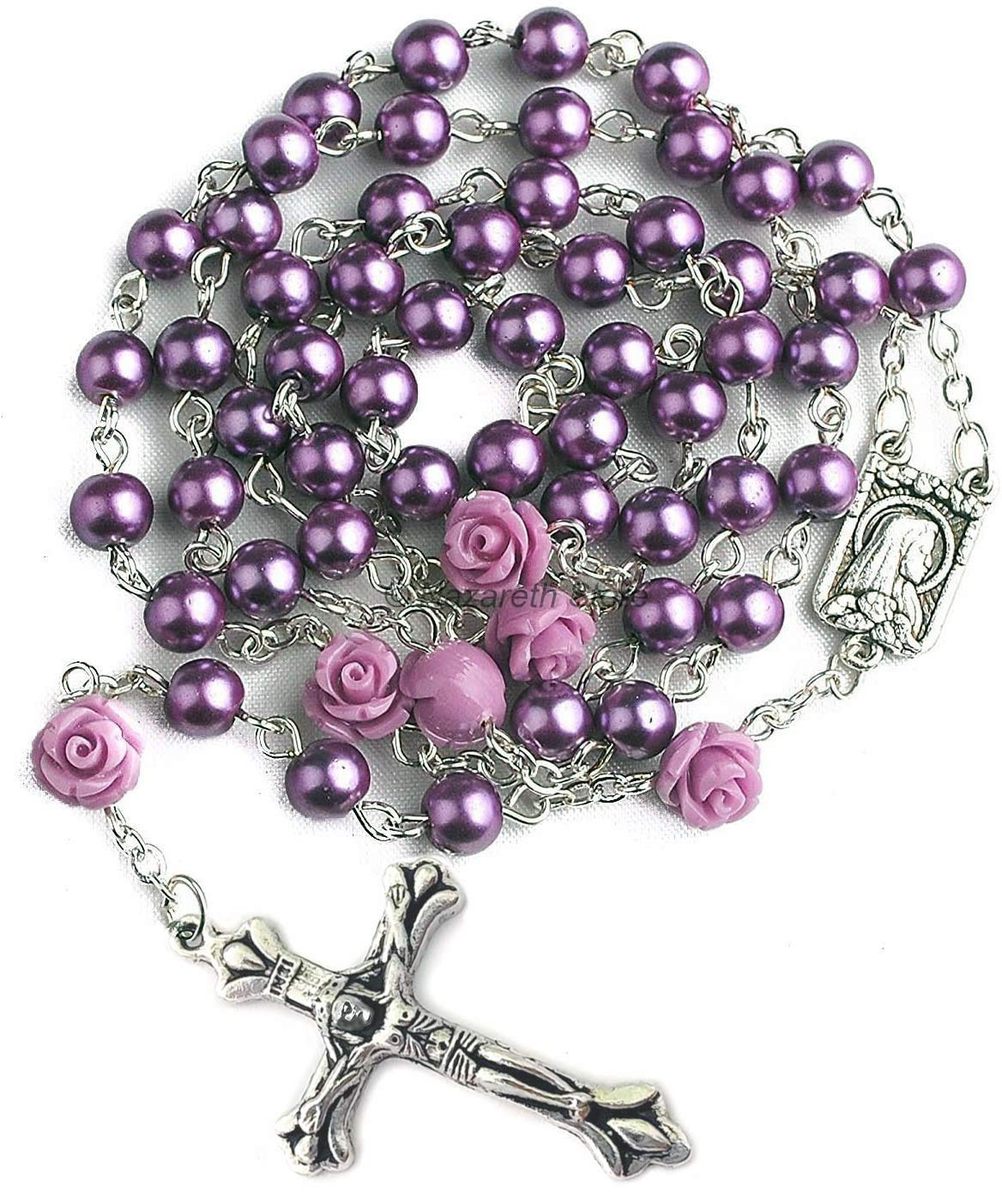 Nazareth Store Catholic Purple Pearl Beads Rosary Necklace Our Rose Lourdes Medal & Cross NS