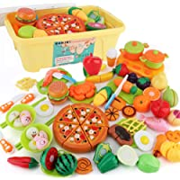 SONiKi 60Pcs Cutting Food Toys, Pretend Food Set with Large Storage Case, Kitchen Toy Set Fun Cutting Pizza Fruits Vegetable Hamburger Chinese dumpling Food Family Playset Cutting toys For Girls and Boys