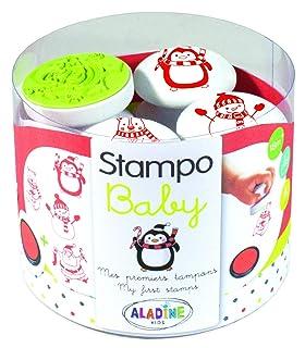 Aladine–Stampo Baby Natale Confezione da Tamponi per risveglio e Giochi creativi e 1encreur Maxi, 03818, Multicolore
