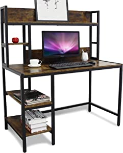 Bizzoelife Computer Desk with Hutch and 2-Tier Bookshelf,47 Inches Modern Writing Study Desk with Storage Shelf for Small Space, PC Laptop Table Workstation for Home Office to Saving Space(Rustic)