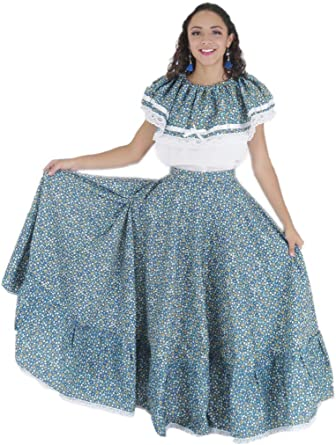 Mexican Clothing Co Womens Mexican Adelita Costume Blouse n Skirt Poplin