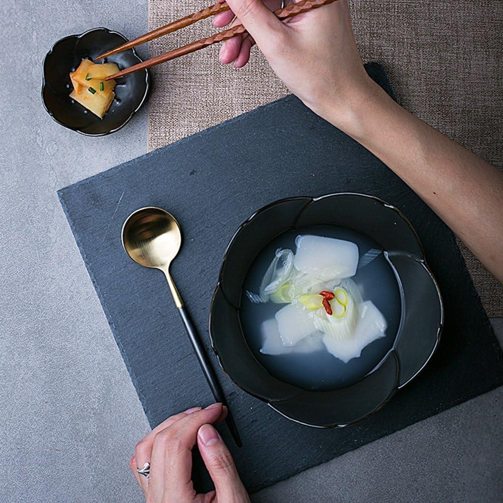 Color : Black, Size : 7.5cm Sakura petal seasoning dish rice bowl simple ceramic sauce dish home small soup bowl cutlery