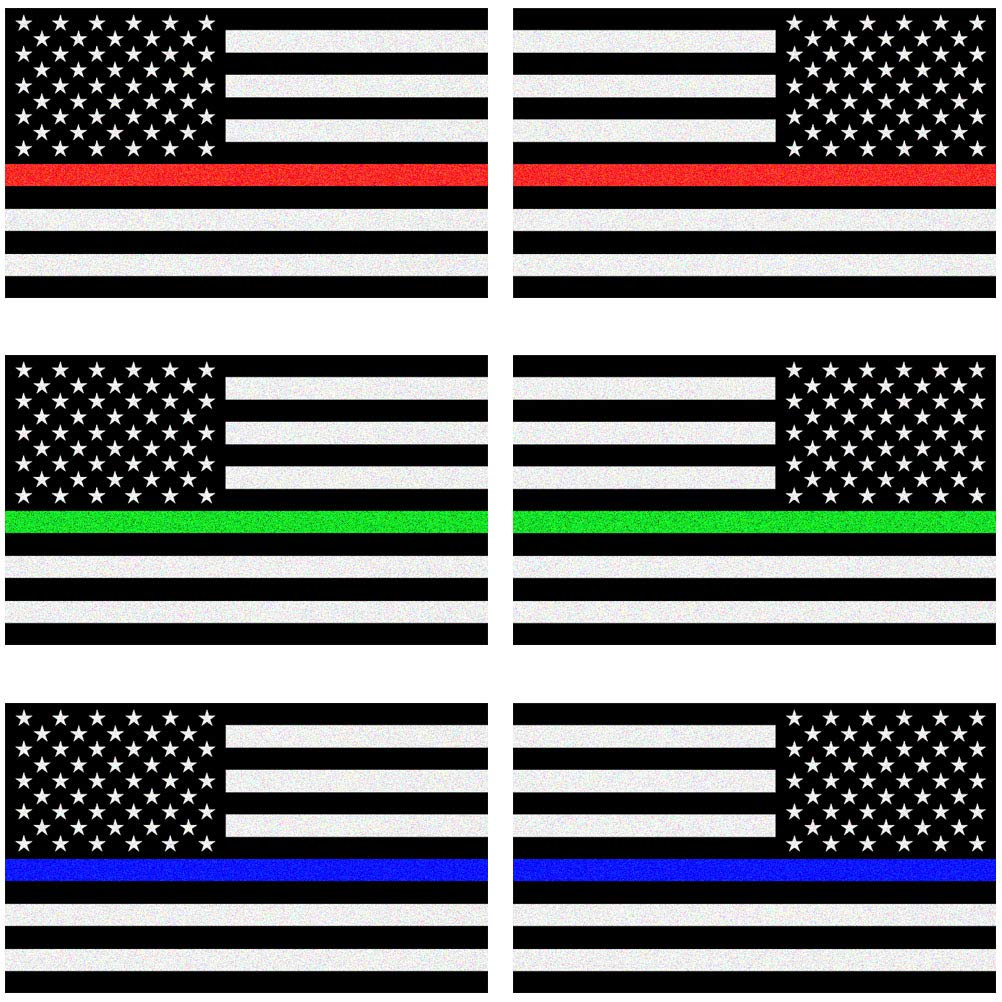 Creatrill Reflective Thin Blue Red Green Line Decal Matte Black 3 Pairs 3x5 in American USA Flag Decal Stickers for Cars Support for Police Fire Officers Military Troops Hard Hat Trucks