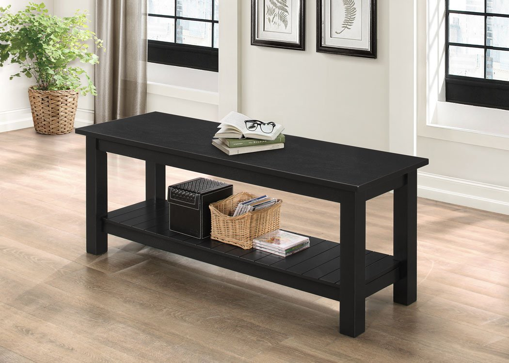 WE Furniture 50'' Country Style Entry Bench - Black