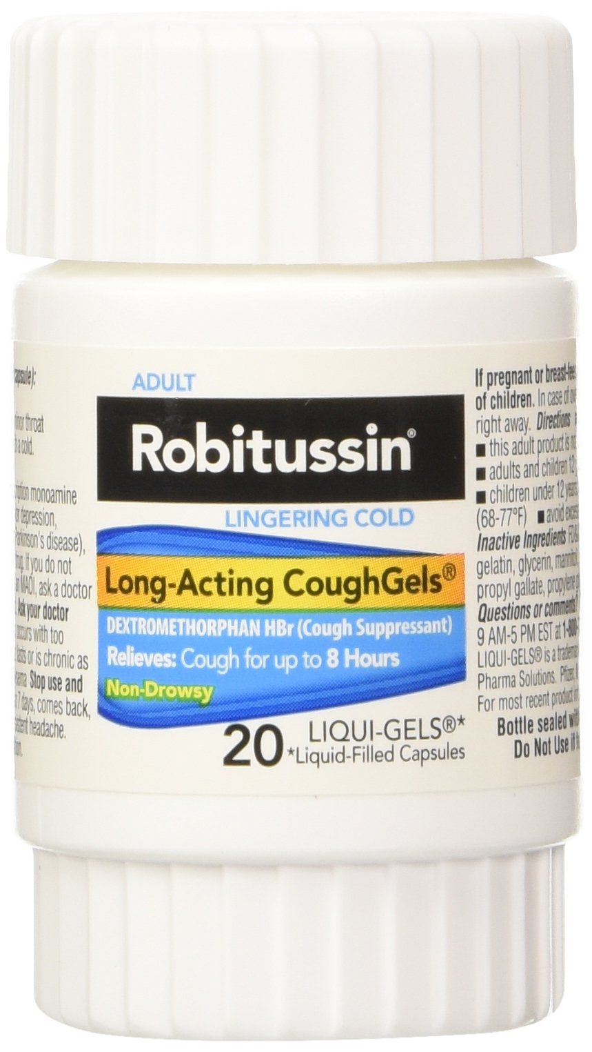 Robitussin Lingering Cold CoughGels Long-Acting 8-Hour Cough Suppressant (20-Count Liqui-Gel Capsules, Pack of 2)