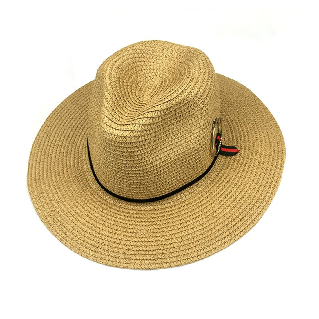 ACVIP Women's Summer Straw Panama Hat Sun Cap with Ring Detail