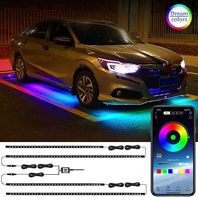 RF Wireless Remote Control and App Control Atmosphere Decorative Bar Lights Kit Neon Underglow Waterproof Music Lighting Kit with Sound Active Function CASATX RGB Car Underbody Lights