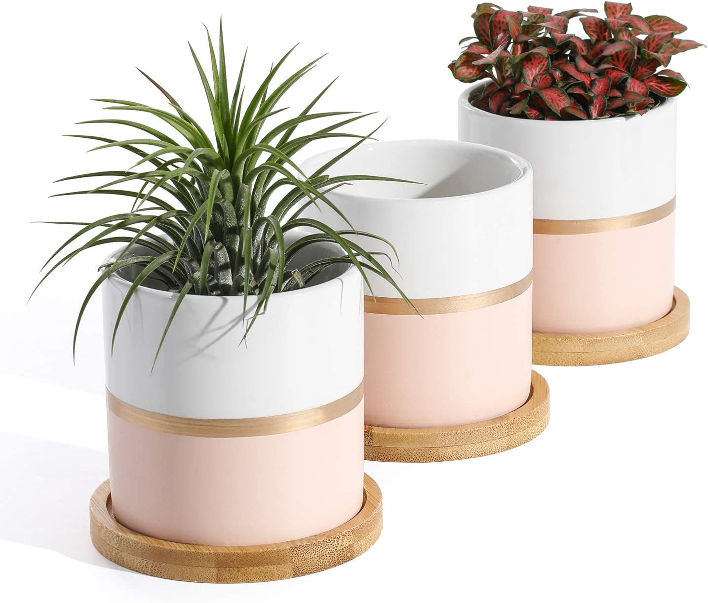 POTEY 055404 Succulent Pots Set - 3.1 Inches Ceramic Small Planters with Bamboo Saucer for Plants Succulent Cactus House Office Decor(White Pink, 3 PCS, Plant NOT Included)