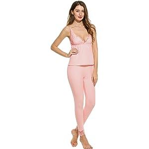 Ekouaer Womens Cotton Sleepwear Lace Trim Cami Top and Long Pant PJ Set(Black,