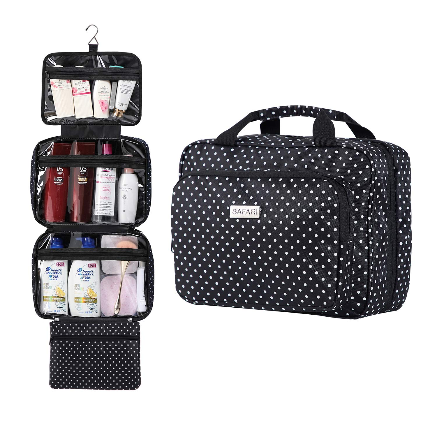 Large Hanging Travel Toiletry Cosmetic Bag for Women by SAFARI Polka Dot – Waterproof and Durable Fabric with Clear Compartments and Detachable Pouch – The Perfect Gift