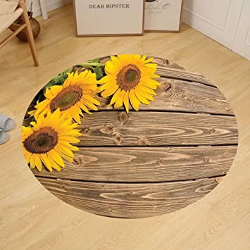 Gzhihine Custom Round Floor Mat Sunflower Decor Collection Three Sunflowers On The Wooden Background At Left