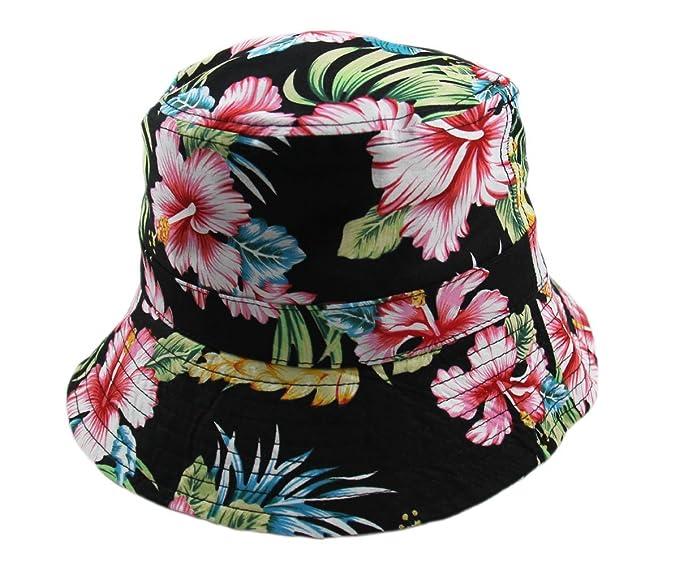 e7fe6c3064c RW Unisex Hibiscus Floral Crushable Bucket Hats (Black) at Amazon ...