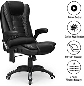 Esright Ergonomic Office Chair High Back PU Leather Computer Chair Height Adjustable Desk Chair Heated Massage Recliner Chair with Lumbar Support, Black