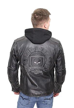 e11925a6c Harley-Davidson Mens Aurora Willie G Skull Badge 3-in-1 Black Leather