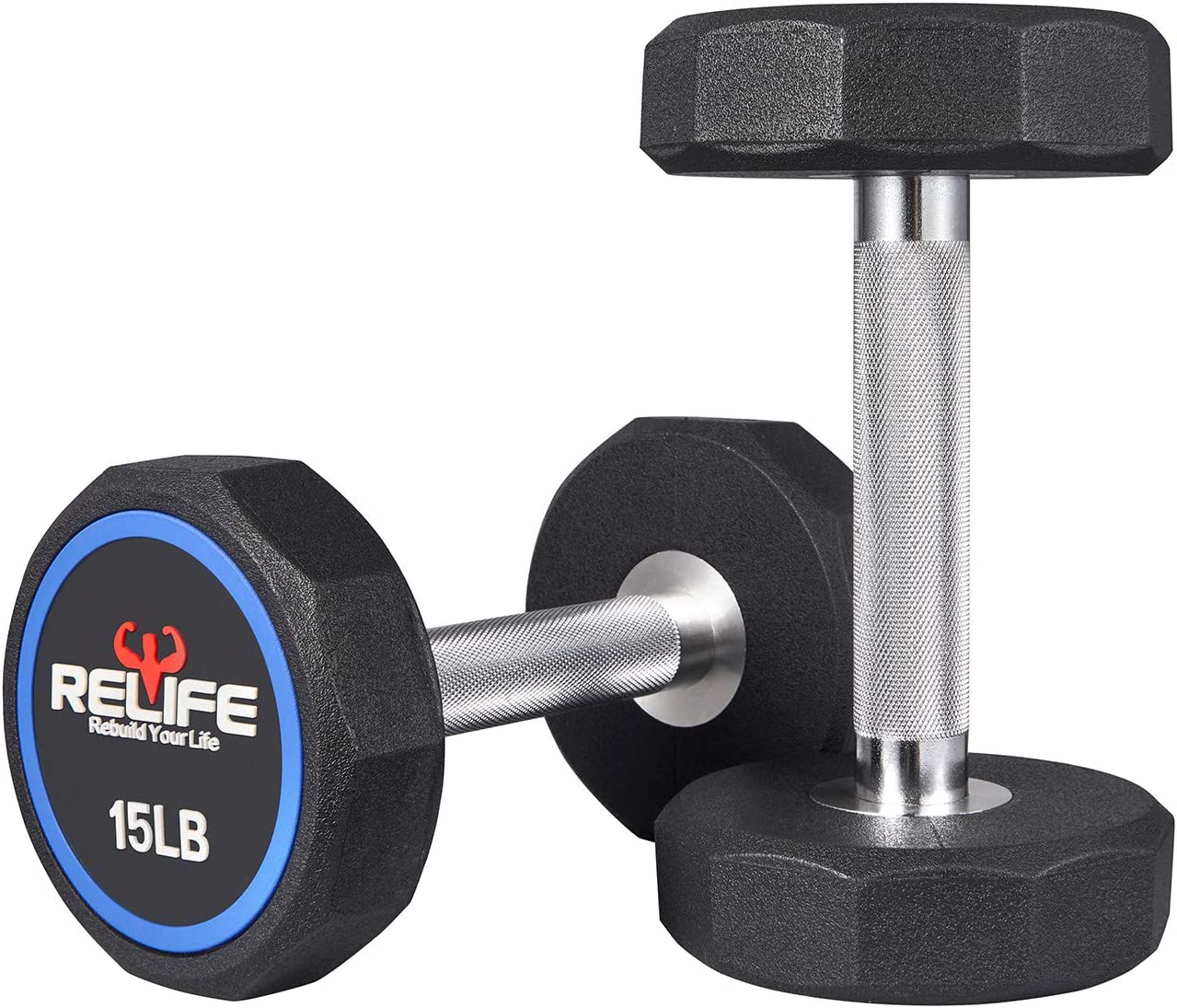 RELIFE REBUILD YOUR LIFE Decagon Dumbbell Heavy Weights Barbell Metal Handles for Strength Training Home Gym Exercise Equipment