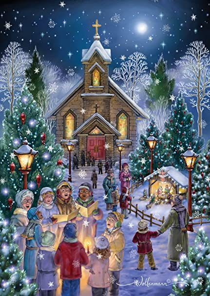 midnight mass christmas cards box of 15 cards 16 foil lined envelopes