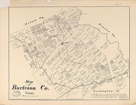 Amazon.com: Vintage 1879 Map of Burleson Co., Texas. - Shows land ...