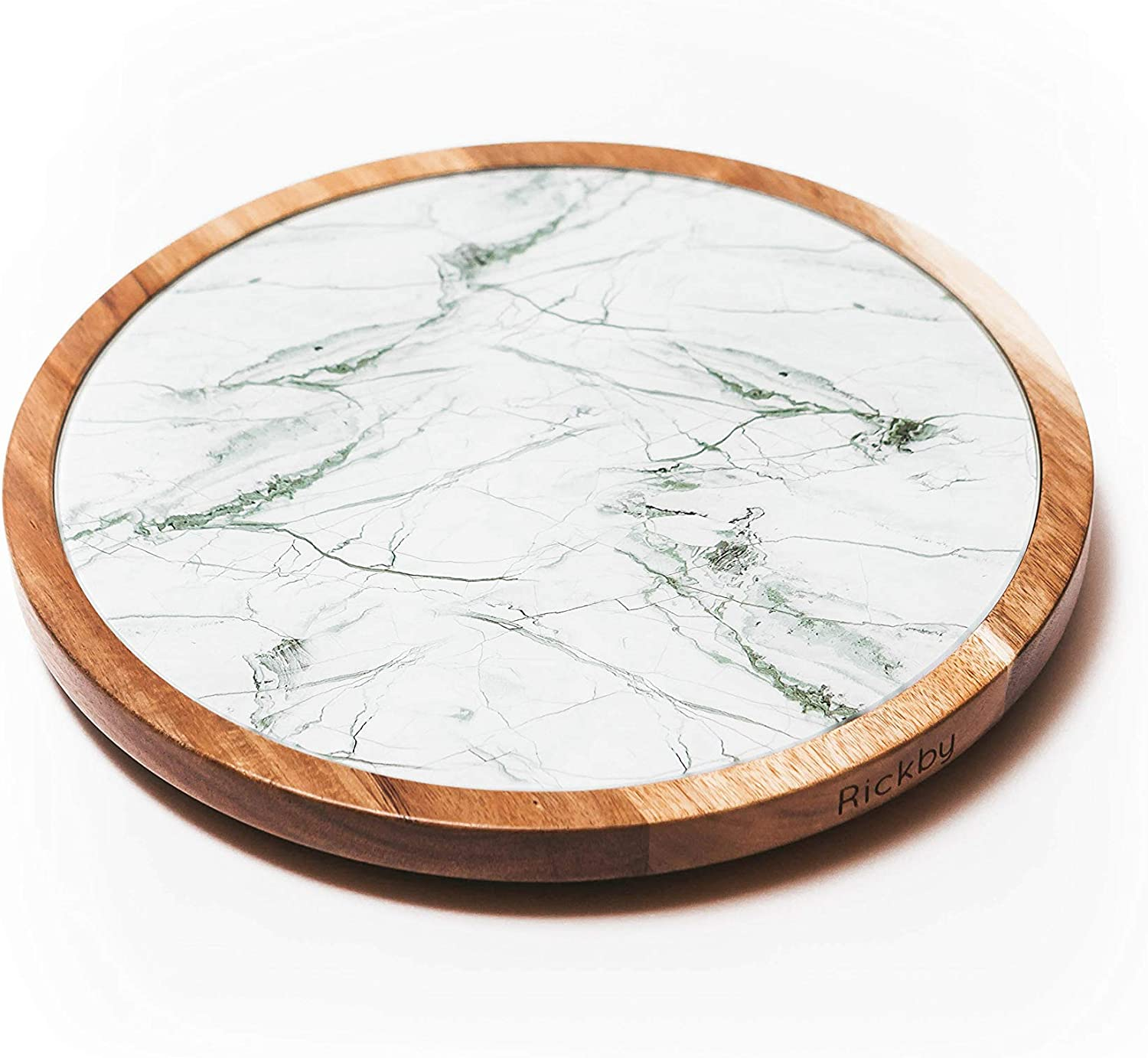 Lazy Susan Turntable - 2in1 Acacia Wood and Removable Glass Plate with WHITE & GRAY Marble Texture 12 inch