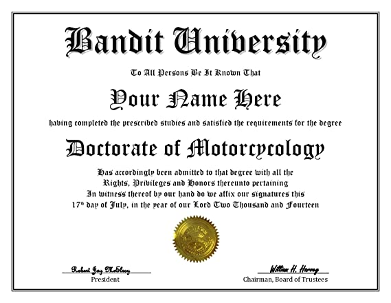 Amazon.com: Bandit University Degree – Custom Novelty Diploma Fake ...