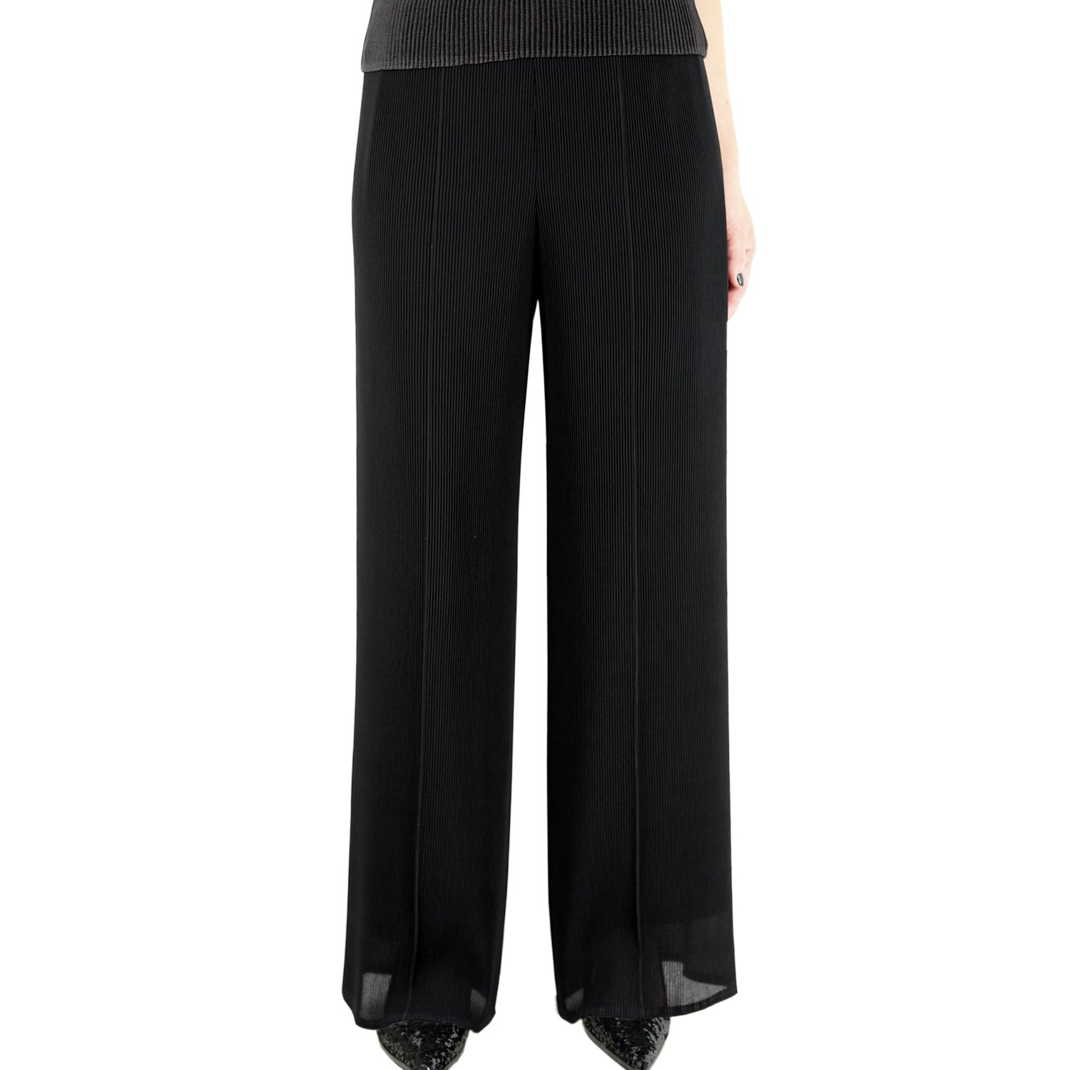 SPECCHIO PLEATS Women's Pleated Urban Wide Leg Pants Women Spring and Summer One Size Black