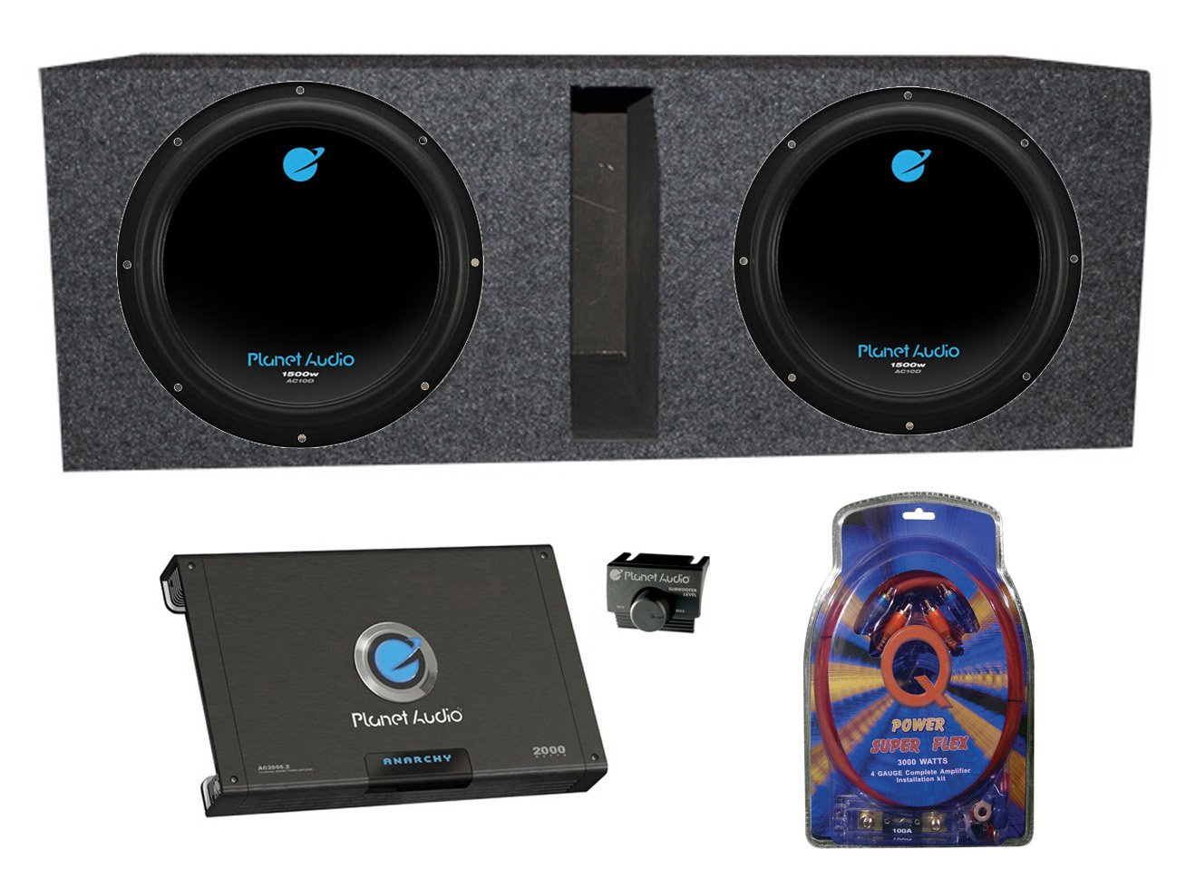 2 Planet Audio Ac10d 10 3000w Subwoofers Vented Box How To Install Subwoofer And Amp Channel Kit Electronics
