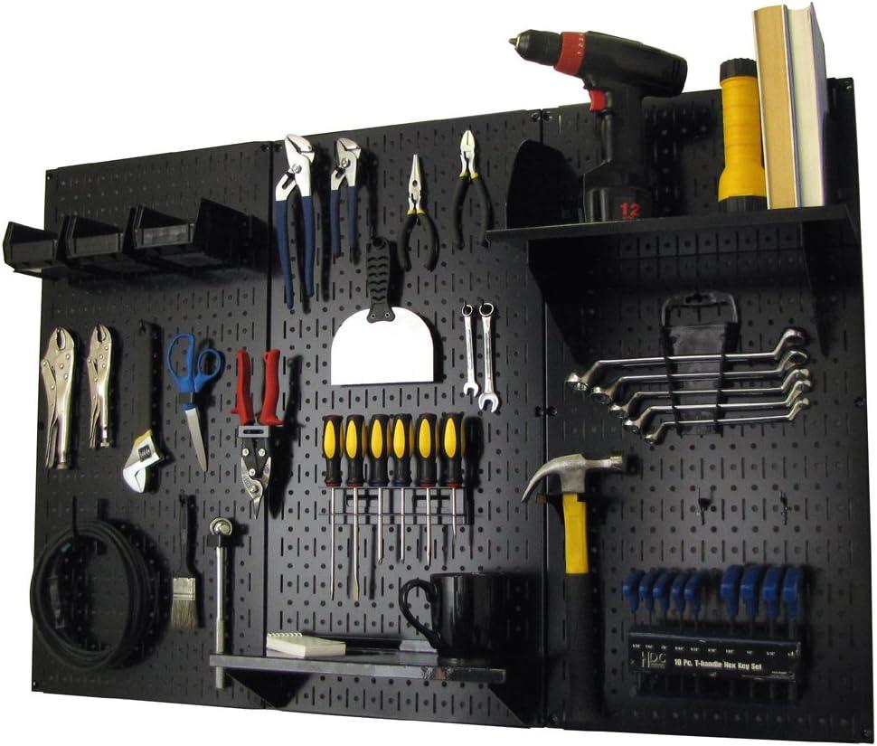 Pegboard Organizer Wall Control 4 ft. Metal Pegboard Standard Tool Storage Kit with Black Toolboard and Black Accessories - Wall Racks -