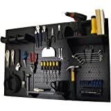 Wall Control 30-WRK-400 BB Pegboard Organizer Metal Standard Tool Storage Kit Accessories, 4', Black/Black