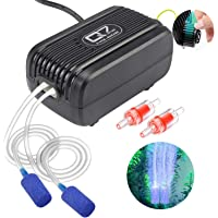 UPMCT Aquarium Air Pump with Dual Outlet Adjustable Air Valve, Ultra Silent Oxygen Air Pump with Accessories Air Stones Silicone Tube Check Valves, Suitable for 1-80 Gallon Tank