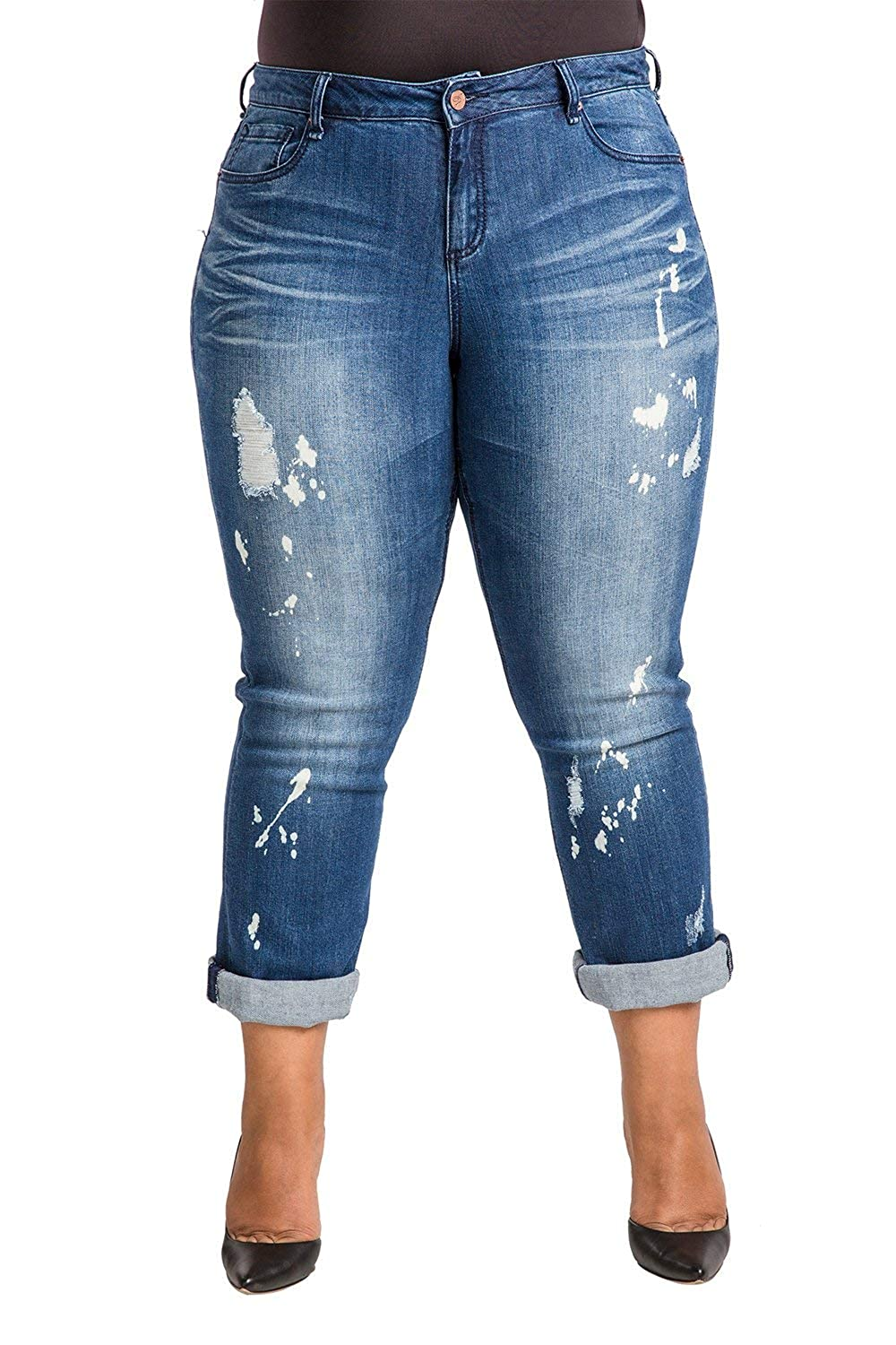 bf7cfeaa Poetic Justice Plus Size Women's Curvy Fit Blue Bleach Spots Boyfriend Jeans  at Amazon Women's Clothing store: