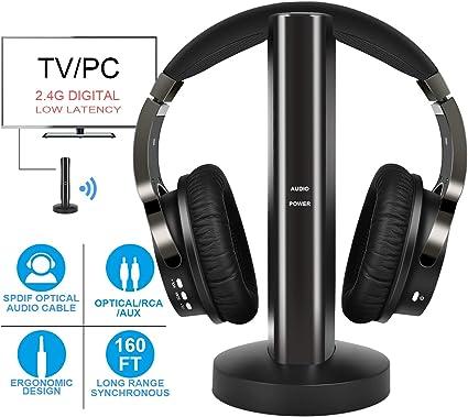 rybozen Wireless TV Auriculares 2.0 Over Ear Auriculares inalámbrico con transmisor RF, RF – con Control de Volumen electrónico 20 Horas Batería Recargable y Carga Dock para TV MP3 iPod y Smartphones: