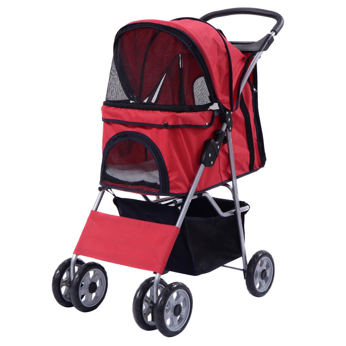 Pet Stroller Cat Dog Folding Cart Carrier Jogger Travel Four Wheel (Red)